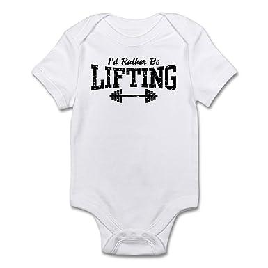 85aadbad Amazon.com: CafePress I'd Rather Be Lifting Weights Baby Bodysuit: Clothing
