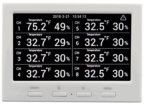 Ambient Weather WS-3000-X8 Wireless Thermo-Hygrometer with Logging, Alarming, Radio Controlled Clock with 8 Remote Sensors