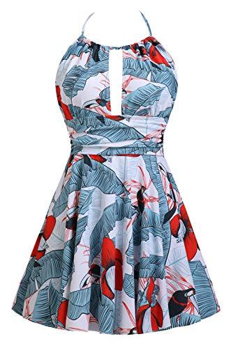 B2prity Women One Piece Swimsuits Tummy Control Swimdess Slimming Skirted Bathing Suits Swim Dress (XL/US(16-18), A15)