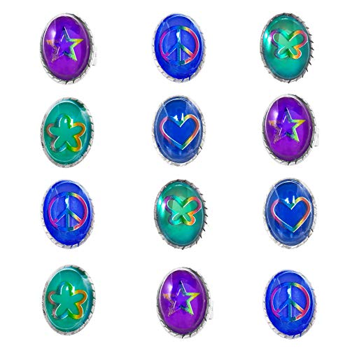 12 Adjustable Mood Rings for Women, Kids, Girls, Teens, Tween - Color Changing Assorted Motifs Oval Tie-Dye Mood Ring Set - Tie Dye Birthday Party Favors and Supplies - Fun -