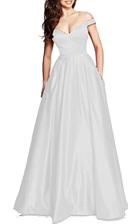 e82d5e601f0 Image Unavailable. Image not available for. Color  Ladsen Sweet Long Prom  Dresses 2018 Off The Shoulder Beaded ...