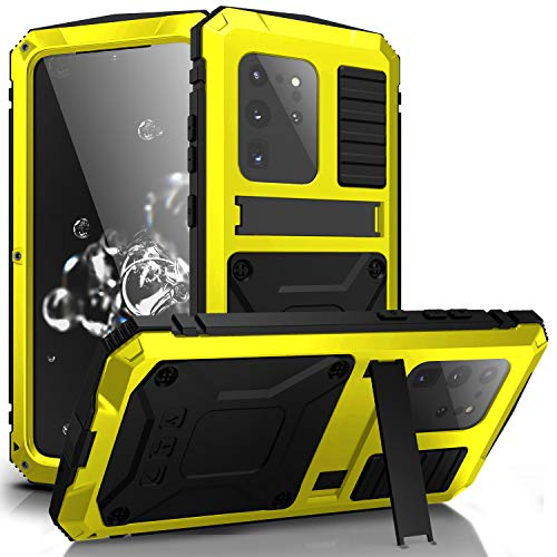 JINGANGYU Samsung S20 Plus case, S20 Plus Metal Waterproof Cases Built-in Screen Protector Stand Durable Full Body Heavy Duty Shockproof Drop Tested case for S20 Plus 5G (Yellow, S20 Plus)