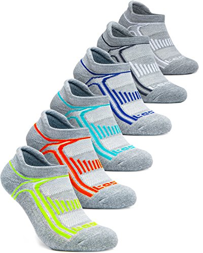Tesla TM-MZS05-DGXZ_Large Men's 6-Pairs Atheltic No Show Socks Cushioned Comfort w Mesh MZS05 ()