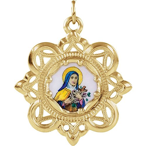 Jewels By Lux 10K Yellow Gold 26mm St. Theresa Framed Enamel Pendant