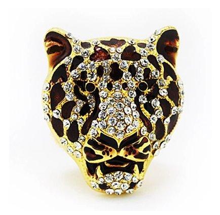 Bestbling Crystal Animal Shape Vent outlet Air Freshener-Car Perfume bottle Car Interior Decoration (Leopard Head)
