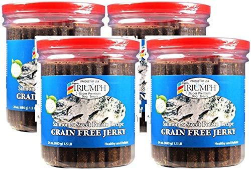 Triumph Super Premium Dog Treats Dog Salmon & Sweet Potato Jerky, 24-Ounce (4 Pack)