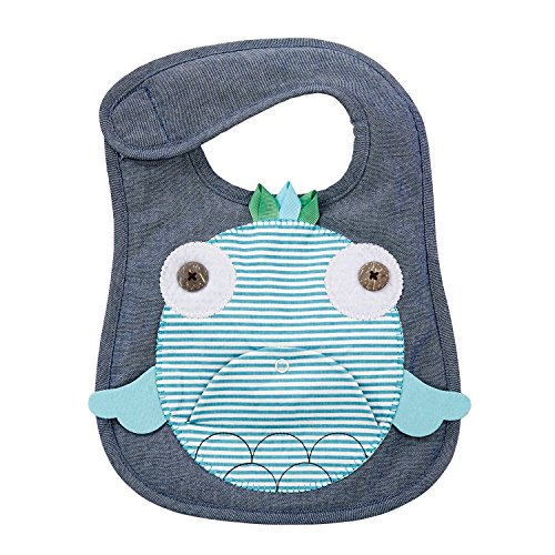 - Mud Pie Navy and Teal Fish Baby Boy or Girl Toddler Bib Cloth Chambray Appliqued