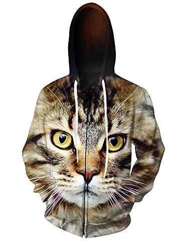 Women 3d Cat Sweatshirts Cool Graphic Hoodie Zip-up Jackets Coat Pullover weed hoodie Size M - Cat Womens Zip Hoodie