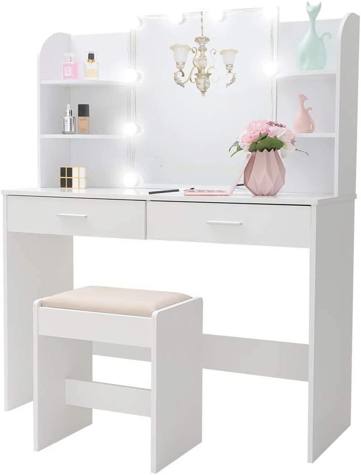 Large Vanity Set with 10 Light Bulbs, Makeup Table with Cushioned Stool, 6 Storage Shelves 2 Drawers, Dressing Table Dresser Desk for Women, Girls, Bedroom, Bathroom, White YSZT001WD