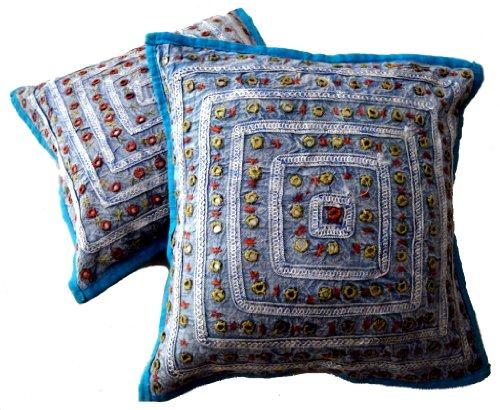 (Krishna Mart India 5 Turquoise Mirror Work Embroidery Indian Sari Throw Pillow Toss Cushion Covers)