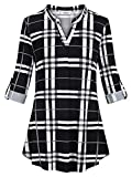 Sixother Swing Tunic Shirt for Women XL Striped A Line Flowy Dressy Top for Fall Round Neck Tee Pullover Classic Stylish Plaid Blouse for Business Casual Daily Wear