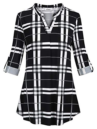 Sixother Tunic Tops for Leggings for Women Size 14 Spilt V Neck Roll Up Half Sleeve Business Blouse for Office Casual White and Black Plaid Knit Shirt for Winter Sping (Knit Henley Tee)