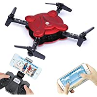 Mini Foldable Pocket Drone with Camera and Live Video - 2.4 G 6-Axis Gyro 4 Channels RC Quadcopter with Altitude Hold One Key Return &3D Flips Headless Model Aircraft Toy with 2 Batteries