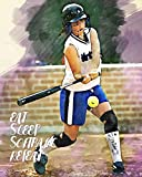 Eat Sleep Softball Repeat: - Lined Notebook, Diary, Track, Log & Journal - Gift for Softball Girls (8' x10' 120 Pages)