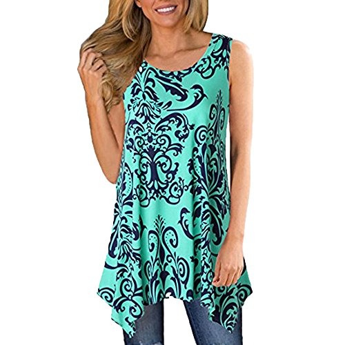 KIKOY Womens V-Neck 3/4 Sleeve Vintage Floral Print Casual Soft Long Tunic Tops -