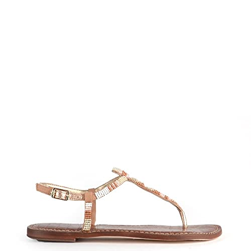 708404444045 Sam Edelman Gail White and Nude Beaded Leather Sandal 36.5EU 3.5UK White