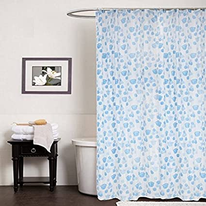CASA FURNISHING PVC Plastic Shower Bathroom Curtain with 8 Hooks (Blue, 54x78-inch/4.5x7ft)