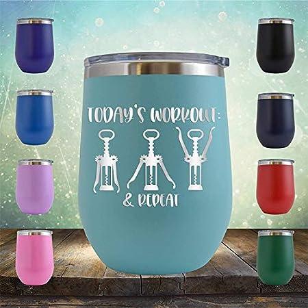 Wine Workout Today - Vaso de vino sin tallo de 12 onzas - Regalo de cumpleaños para él, ella, marido, esposa, padre, madre, ejercicio