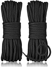 2 Pcs Soft Rope Cord - 32 ft Cotton Soft Rope Multipurpose Silk Cotton Rope, Black Braided Twisted Cotton Rope, Knot Tying Rope