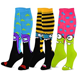 TeeHee Novelty Cotton Knee High Fun Socks 3-Pack for Junior and Women (Monster) sock size 9 - 11