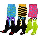 monster feet socks - TeeHee Novelty Cotton Knee High Fun Socks 3-Pack for Junior and Women (Monster) sock size 9 - 11