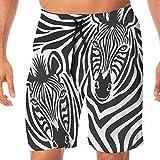 Haixia Men Lightweight Swimming Trunks Safari Decor Couple of Zebras Eyes Face