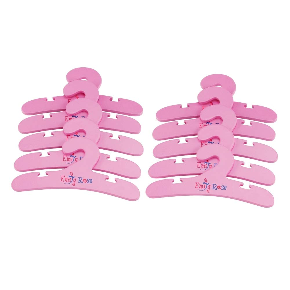 "Emily Rose 14 Inch Doll Furniture Accessories | 10 Pack Pink Wooden Doll Closet Hangers for 14 Inch Doll Clothes | Fits 14"" American Girl Wellie Wishers Dolls"