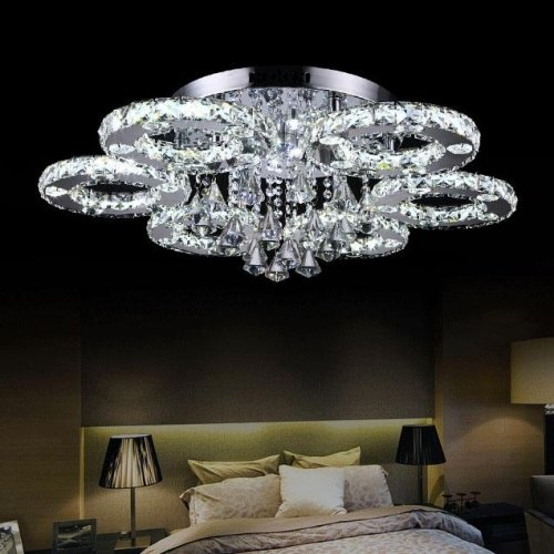 LightInTheBox 50 Watt Modern Crystal LED Flush Mount Chrome Chandelier Ceiling Light Lamp Bulb Included Light Source=Warm White