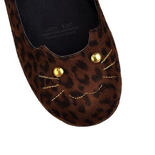 AgooLar Damen Mittler Absatz Gemischte Farbe Ziehen auf Mattglasbirne Rund Zehe Pumps Schuhe Braun