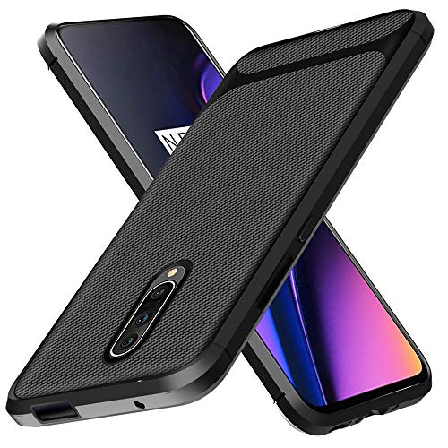 Oneplus 7 Pro Case,One Plus 7 Pro Case,ComoUSA Carbon Fiber Shock Resistant Brushed Texture with Anti-Fingerprint and Anti-Slip Design Phone Protective Cover Case for Oneplus 7 Pro Phone (Black)