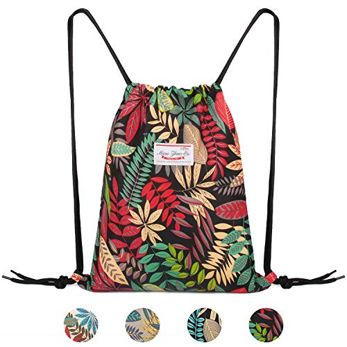 Drawstring Backpack String Bag Sackpack Cinch Water Resistant Nylon for Gym Shopping Sport Yoga by WANDF (Black Leaf 6035)