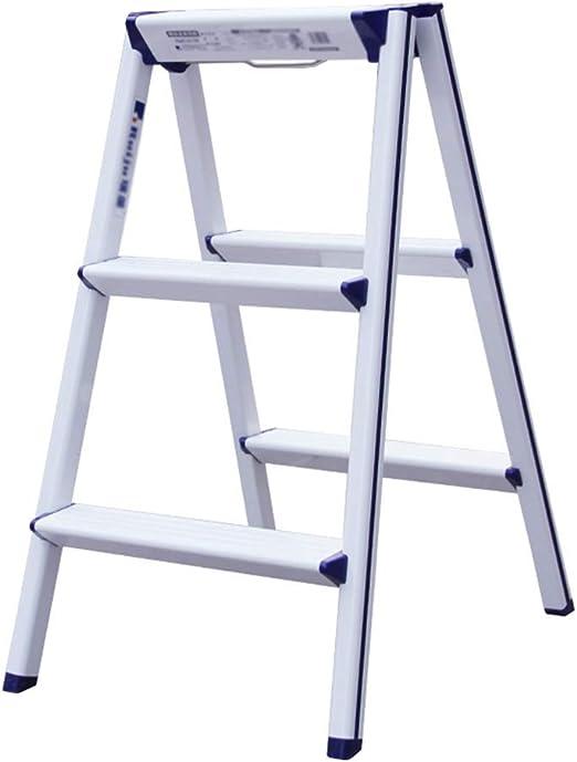 HAIPENG Escalera Plegable Taburete Aleación De Aluminio 3 Pasos Plegado Multifunción Uso Dual Engrosamiento Portátil Casa Moderno, 3 Colores (Color : Blanco, Tamaño : 57.5x42x70cm): Amazon.es: Hogar