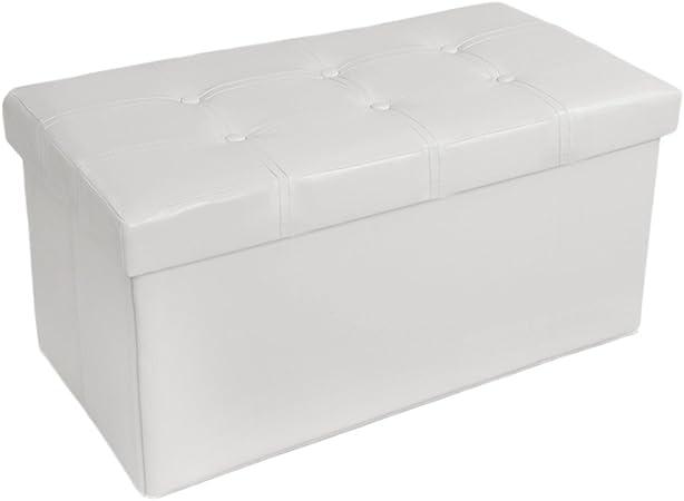 TecTake Asiento Plegable Arcón Asiento Puf Ordenación Caja de almacenaje (Blanco | No. 400868): Amazon.es: Hogar