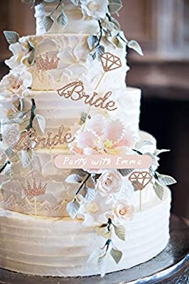Bride To Be 12pcs Cupcake Topper Sparkling Glitter Rose Gold Bride