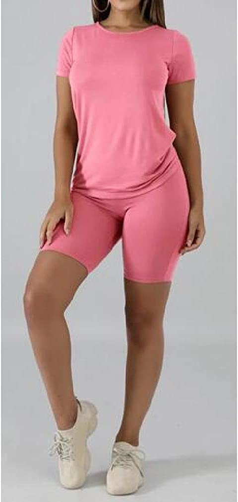 On the way OTW Women 2 Piece Outfits Athletic Solid Summer Bodycon T-Shirt Biker Shorts Tracksuits
