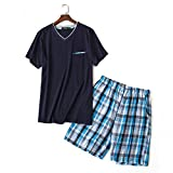 Wigeo Summer 100% Cotton Short Pajama Sets Men Sexy V-Neck Homewear Short Sleeve Sleepwear Male Pijamas Hombre Pyjamas Mens Blue L