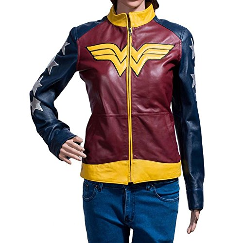 Pin Up Girl Costumes Ebay (Wonder Super Blue Leather Woman Jacket WW Gal Gadot Costume (XL, Blue))