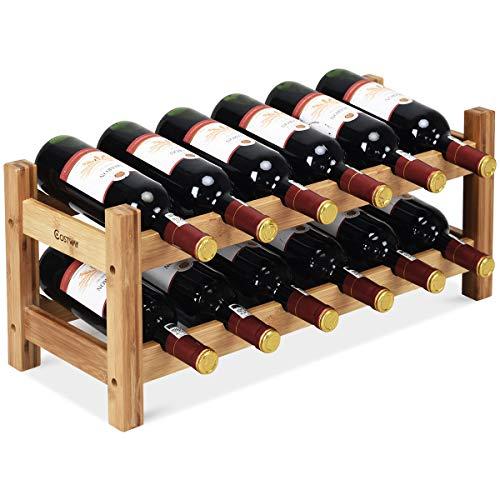COSTWAY Wine Rack, Bamboo 12 Bottles 2-Tier Wine Display Rack for Countertop Home Kitchen Pantry, Free Standing Wine Storage, Rack Tabletop Wine Rack (12 Bottles) ()