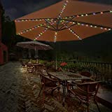 4.3Ft 8-Ribs Patio LED Umbrella String Lights 104 LEDs 8 Mode Battery Operated with Remote Control for Restaurant Coffee Shop Outdoor Garden Backyard Holidays Party (Multi-Colored)