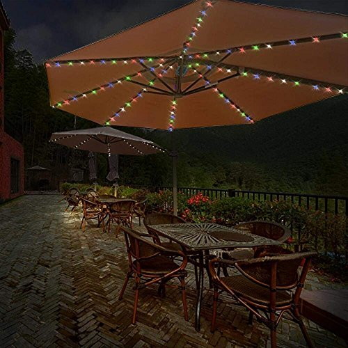 4.3Ft 8-Ribs Patio LED Umbrella String Lights 104 LEDs 8 Mode Battery Operated with Remote Control for Restaurant Coffee Shop Outdoor Garden Backyard Holidays Party (Multi-Colored) by Asobilor