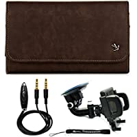 Leatherette Classic Brown Leather Belt Clip Holster [SAM333] For Samsung Galaxy J7, Grand Neo Plus, A7, Grand Max, E5, E7 & More + Windshield Car Mount & AUX Cable