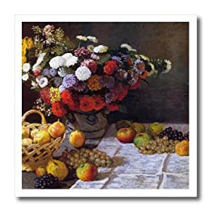 ht_179232_1 FabPeople - Claude Monet Portraits - Flowers and Fruit, Claude Monet Painting Dated 1869, PD-US - Iron on Heat Transfers - 8x8 Iron on Heat Transfer for White Material