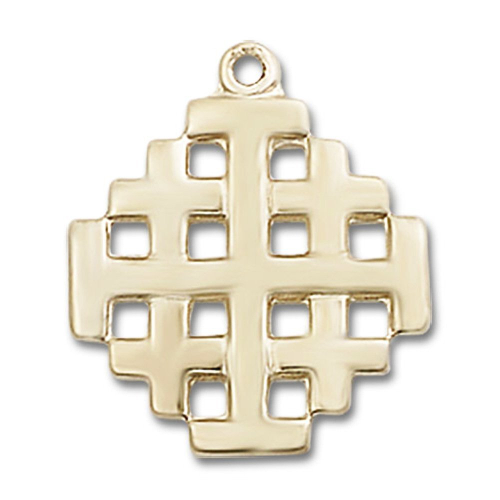 14kt Yellow Gold Jerusalem Cross Medal 3/4 x 5/8 inches