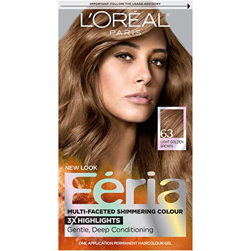 L'Oréal Paris Feria Multi-Faceted Shimmering Permanent Hair Color, 63 Sparkling Amber (Light Golden Brown), 1 kit Hair Dye