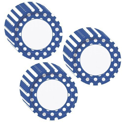 Royal Blue Polka Dots Party Dinner Plates - 24 Pieces ()
