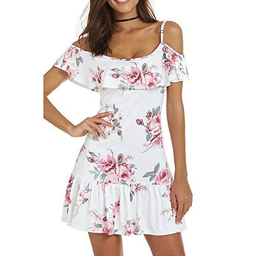 - Chaofanjiancai_Dress for Women Summer Cold Shoulder Casual Mini Dresses Floral Sexy Spaghetti Dress White