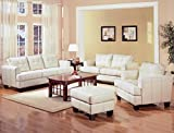 Coaster Home Furnishings Samuel Living Room Set with Sofa, Love Seat, Chair, and Ottoman in Cream Premium Bonded Leather