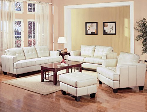 Cream Bonded Leather Ottoman (Coaster Home Furnishings Samuel Living Room Set with Sofa , Love Seat , Chair , and Ottoman in Cream Premium Bonded Leather)