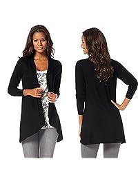 Ownmagi Women Loose Long Sleeve Plain Neck Stretch Irregular Knitted Cardigan