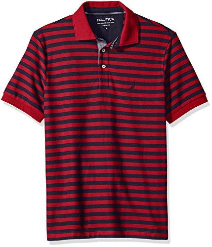 Stripe Shirt Mens Classic (Nautica Men's Standard Classic Short Sleeve Stripe Polo Shirt, Red, Medium)